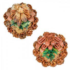 Rózsatoboz koszorú trópusi szárazvirág díszítéssel 20cm