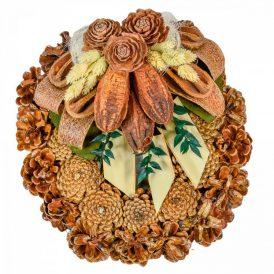 Rózsatoboz koszorú trópusi szárazvirág díszítéssel 25cm