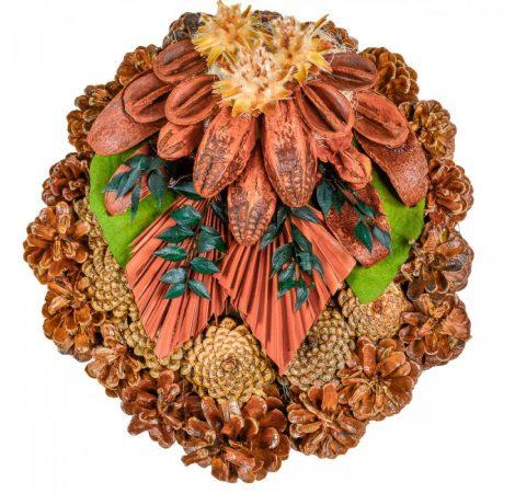Rózsatoboz koszorú trópusi szárazvirág díszítéssel 30cm