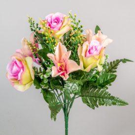 Rózsa, liliom csokor 7v. M36cm 24db/#