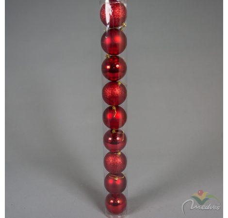 Müanyag gömb piros 8cm 9db-os