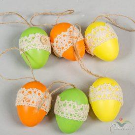 Csipke díszítéses tojás akasztós narancs-zöld-citrom 6cm 6db-os
