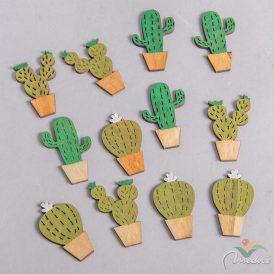 Fa festett kaktusz lézervágott  4cm 12db-os