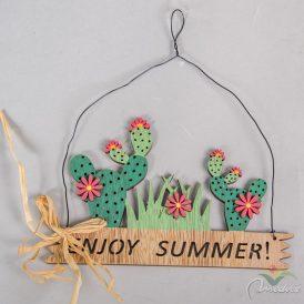 Fatáblás dísz kaktusszal ENJOY SUMMER felirattal 18cm