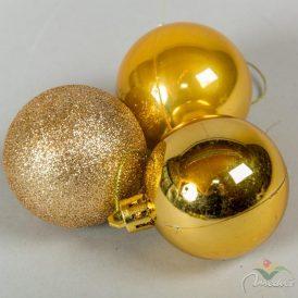 Műanyag gömb arany 5cm 6db--os