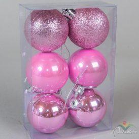 Műanyag gömb rózsaszín 5cm 6db-os