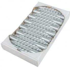 Metál kis csavart gyertya ezüst 150mm (db ár) 30db/csom