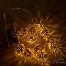 10 LED-es arany fém gömb fényfőzér elemes (elem nélkül)
