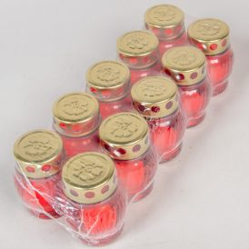 Kis gömb üvegmécses fém tetővel piros 10cm 10db/#