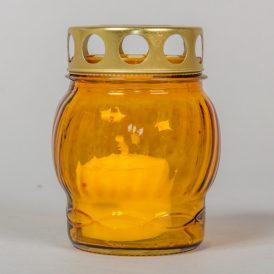 Kis gömb üvegmécses fém tetővel sárga 10cm 10db/#