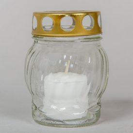 Kis gömb üvegmécses fém tetővel fehér 10cm 10db/#
