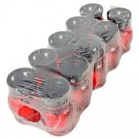 Kis gömb üvegmécses műanyag tetős piros 14cm 10db/#