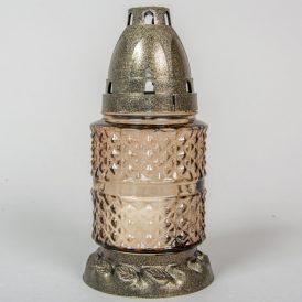 Szögletes kis henger üvegmécses arany 17cm 12db/#