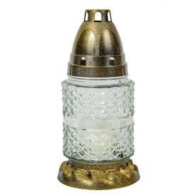 Szögletes kis henger üvegmécses fehér-arany 17cm 12db/#