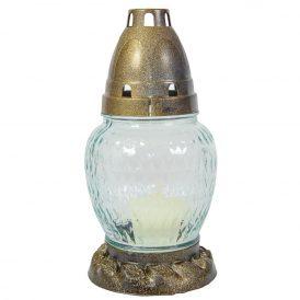 Szögletes csepp üvegmécses fehér-arany 17cm 12db/#