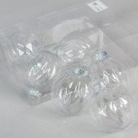 Rombuszmintás transzparens gömb 8cm 6db-os