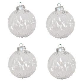 Rombuszmintás gömb átlátszó 10cm 4db-os