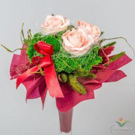Szárazvirág csokor 3 rózsás,vetexes  (2)