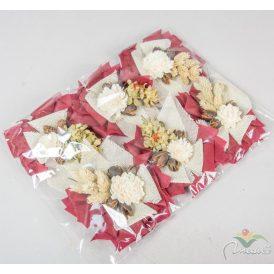 Koszorú rátét ming bogival, bakulival,sáfránnyal  vetexes 15-ös 6db/szín/csom