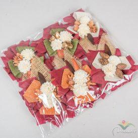 Koszorú rátét ming bogival, bakulival, tobozzal vegyesen vetexes 20-as, 6db/szín/csom