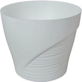 Műanyag kaspó féloldalt bordás fehér D15cm M13,5cm