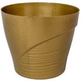 Műanyag kaspó féloldalt bordás arany D15cm  M13,5cm