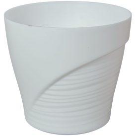 Műanyag kaspó féloldalt bordás fehér D13cm M11,5cm