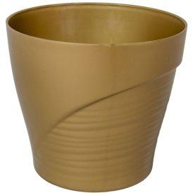 Műanyag kaspó féloldalt bordás arany D13cm M11,5cm