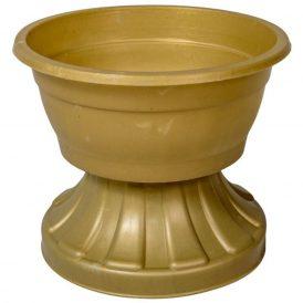 Műanyag bordás talpú tál arany D16cm M13cm
