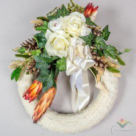 Szizálos szalma koszorú selyemvirággal díszítésel 30cm
