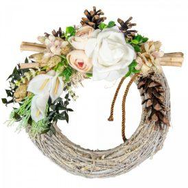 Vesszős szalma koszorú selyemvirág, polifoam virág és szárazvirág díszítéssel 28cm
