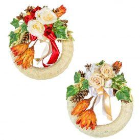 Szizálos szalma koszorú selyemvirág, protea és szárazvirág díszítéssel 35cm