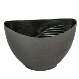 Műanyag csónak féloldalt bordás grafit szürke M12x17x10cm