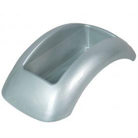 Műanyag domború tál ezüst FOCUS M10x34x18cm