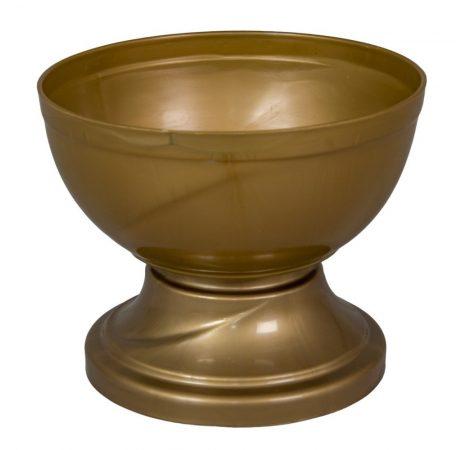 Műanyag nagy talpas tál arany D18cm M14,5cm
