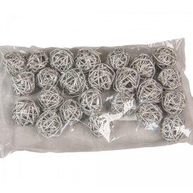 Vessző labda 3cm festett ezüst 24db-os