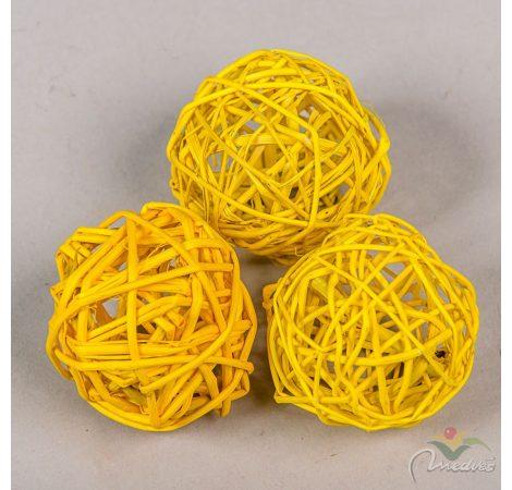 Vessző labda 6cm feh. sárga  12db-os