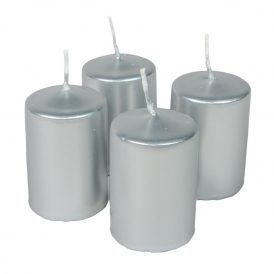 Adventi gyertya metál ezüst 40*60mm 4db/csom (db ár)