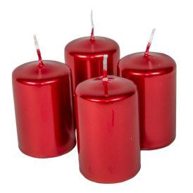 Adventi gyertya metál piros 40*60mm 4db/csom (db ár)