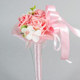 Ballagási csokor 3db polifoam rózsával szallaggal