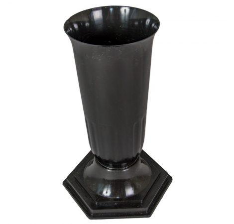 Műanyag talpas váza fekete D15cm M34cm