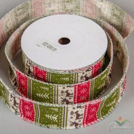 Karácsonyi juta szalag szarvas mintás  piros-zöld  4cmx10yard