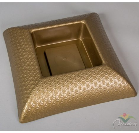 Műanyag tál négyzet alakú mintás arany M7x31x31cm