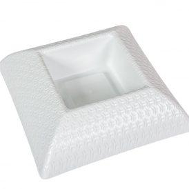 Műanyag tál négyzet alakú mintás fehér M6,5x24x24cm