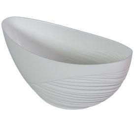 Műanyag csónak féloldalt bordás fehér M11x25x10cm