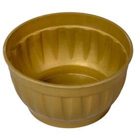 Műanyag tál kerek bordás arany M8cm D15cm