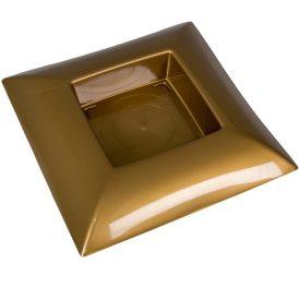Műanyag tál négyzet alakú arany 24 x 24 cm