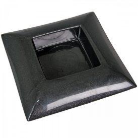 Műanyag tál négyzet alakú fekete 24 x 24 cm