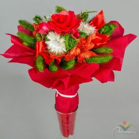 Szárazvirág csokor 1 farózsás, vetexes
