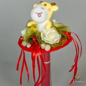 Ballagó csokor figurás, 3 rózsás, vetexes papír alapon